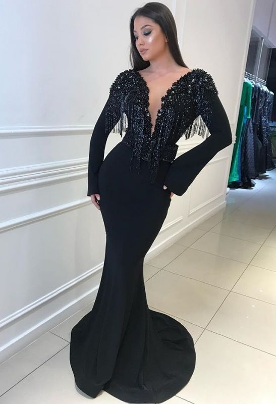 Charming Black Long Sleeves Mermaid Deep V-Neck Prom Gown | Sweep Train Tassels Backless Evening Dress BC0760