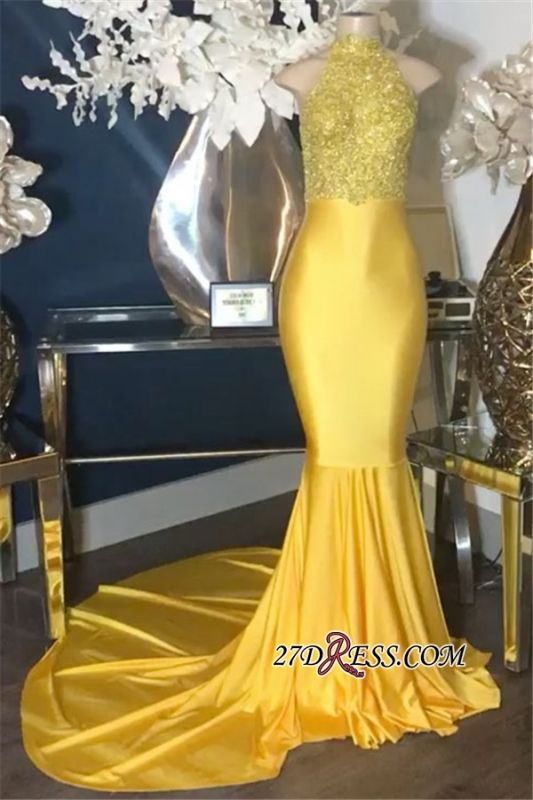High-Neck Gold Sparkly Lace-Appliques Mermaid Sleeveless Prom Dresses