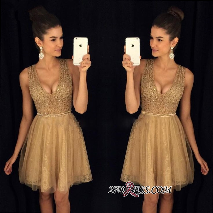 A-Line Short V-Neck Sleeveless Sexy Tulle Prom Dresses