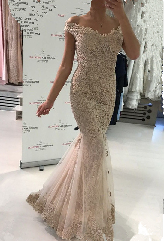 Glamorous Off-the-Shoulder Evening Dress   2020 Lace Mermaid Prom Dress