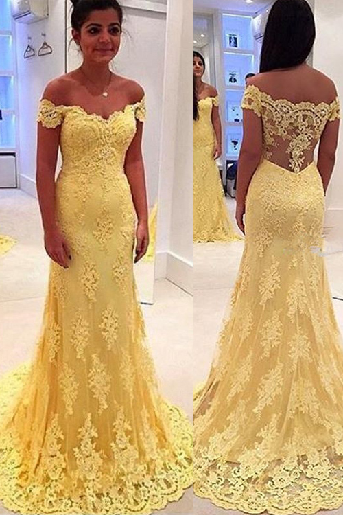 Modern Yellow Lace Appliques Evening Dress 2020 Mermaid Off-the-shoulder