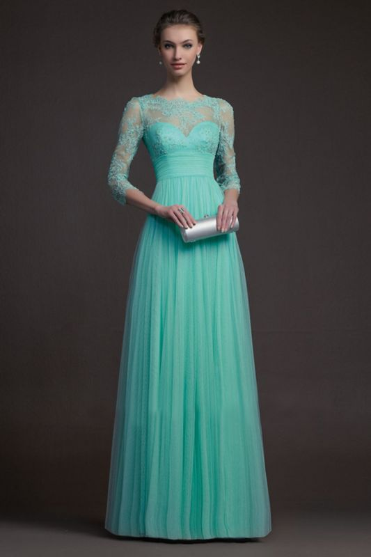 Delicate 3/4-long-sleeve A-line Illusion Tulle Prom Dress Appliques