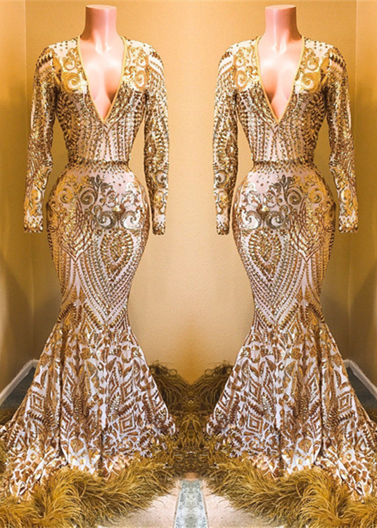 Glamorous V-Neck Long Sleeve Evening Gowns | 2020 Mermaid Sequins Prom Gowns BC0761