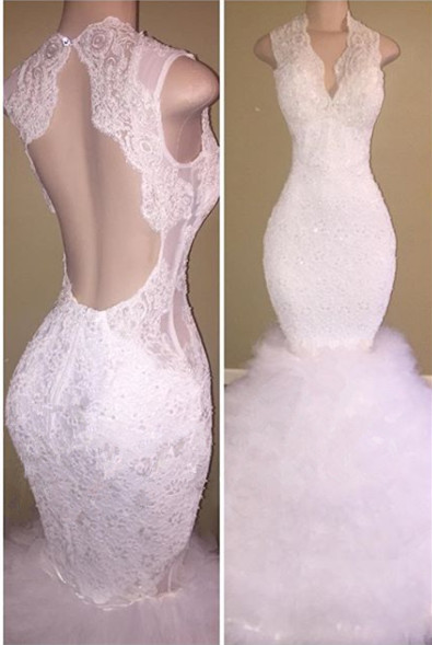Beautiful White Lace 2020 Prom Dress Mermaid Tulle Long Party Gowns BA8085