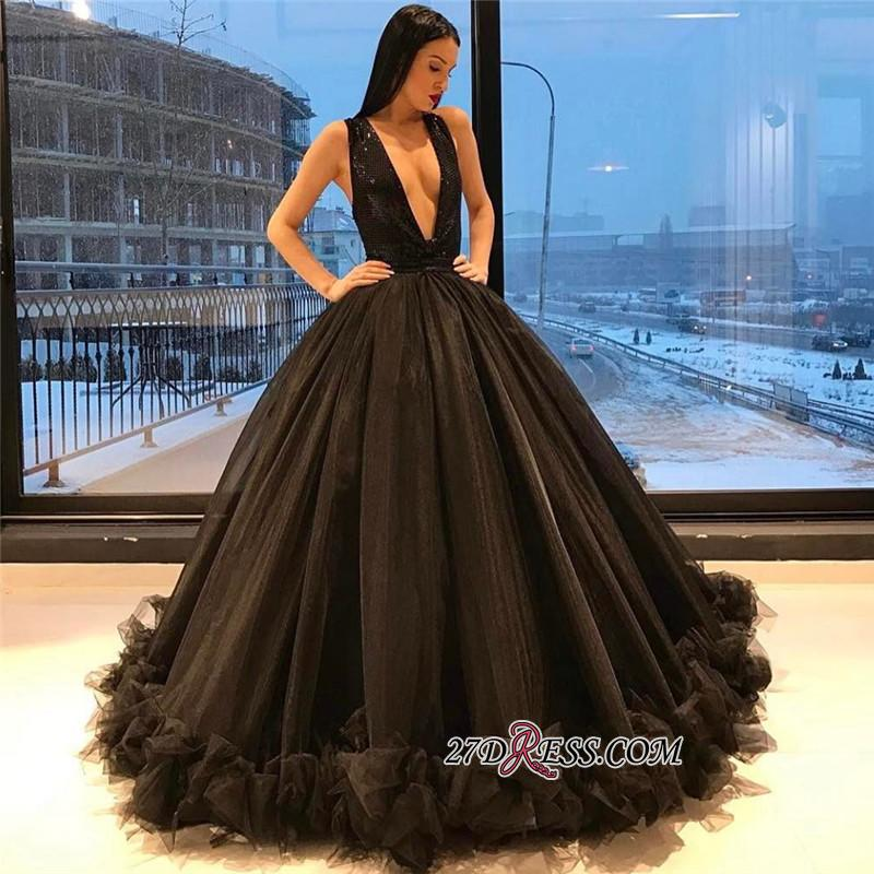 Ruffles Sequins Black Sparkling Puffy Deep-V-Neck Sexy Tulle Sleeveless Evening Dress