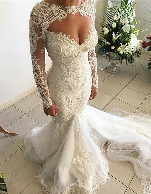 Gorgeous Sweetheart Long Sleeve Wedding Dresses | 2020 Mermaid Lace Beadings Bridal Gowns