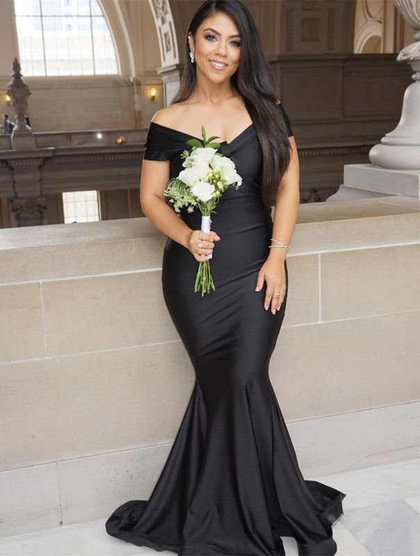Sexy Black Mermaid Evening Gowns On Sale | Off-the-Shoulder Long 2020 Prom Dress