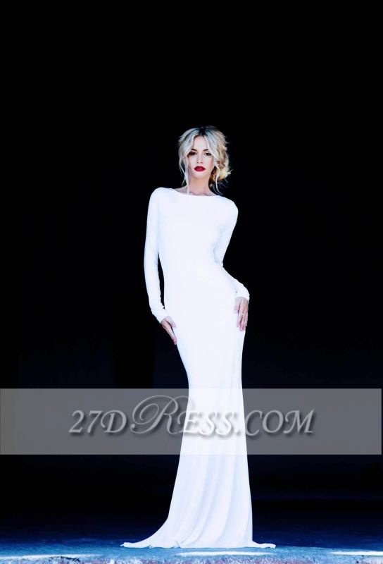 New Prom Dresses Bateau Long Sleeves Sexy Backless Floor Length White Evening Gowns