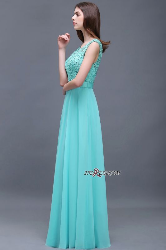 Glamorous Lace-Appliques Chiffon A-Line Scoop prom dresses