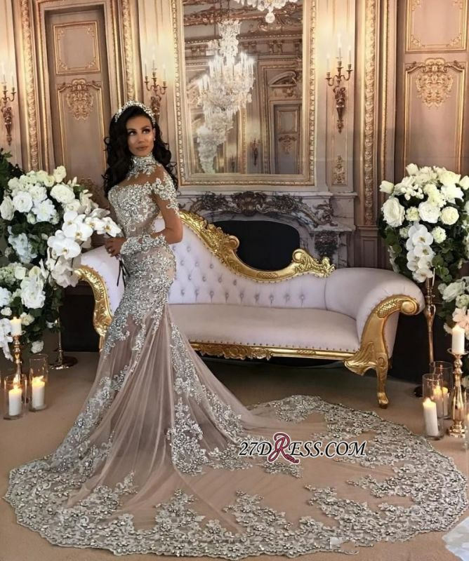 Silver Luxury Lace Long-Sleeve Mermaid High-Neck Wedding Dresses BH-362