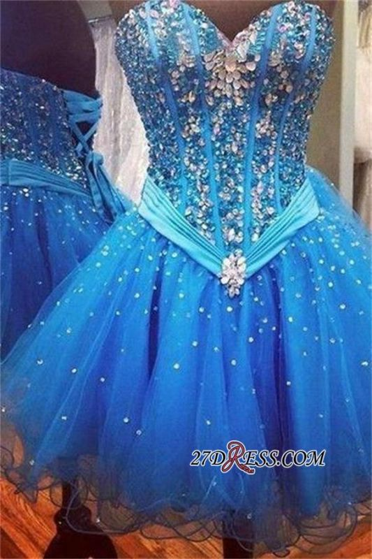 2020 Rhinestones Sweetheart Lace-Up Sequins Organza Sparkly Cheap Blue Homecoming Dresses