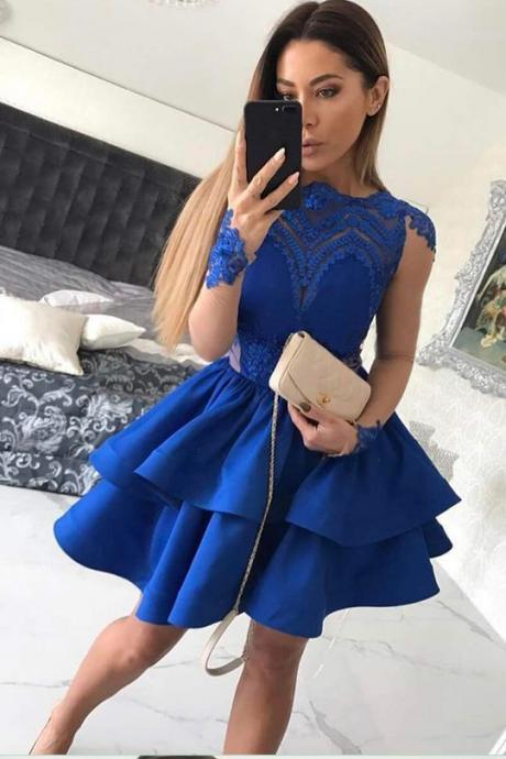 Elegant Royal Blue Long Sleeve 2020 Homecoming Dress Lace Prom Gowns BC0048