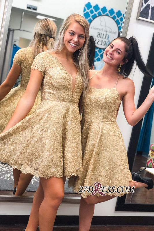 Lace Cap-sleeve A-line Short Homecoming Dresses
