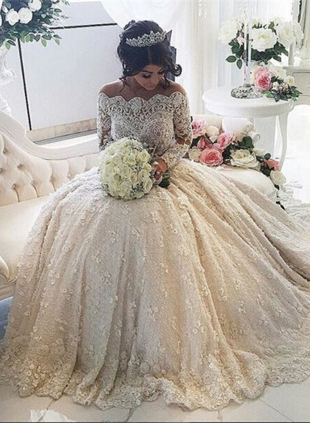 Beautiful Lace Long Sleeve Princess Wedding Dresses 2020 Ball Gown With Appliques