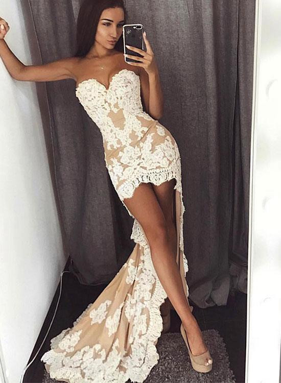 Chic Sweetheart Lace Appliques 2020 Prom Dress Mermaid Hi-Lo