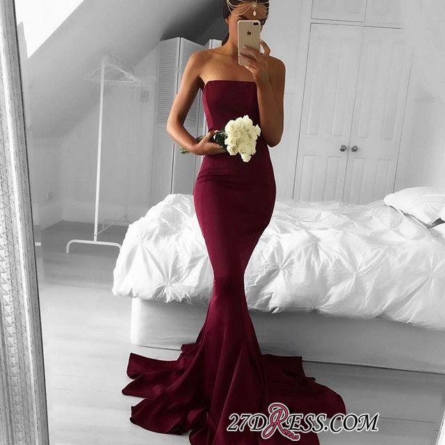 Mermaid Sleeveless Strapless Burgundy Sweep-Train Modern Prom Dress BA5124