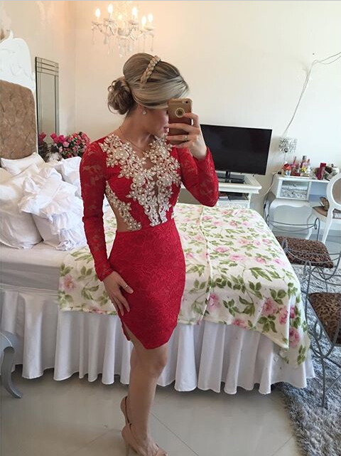 Sexy Long Sleeve Red Cocktail Dress Lace beadings Short Prom Gowns