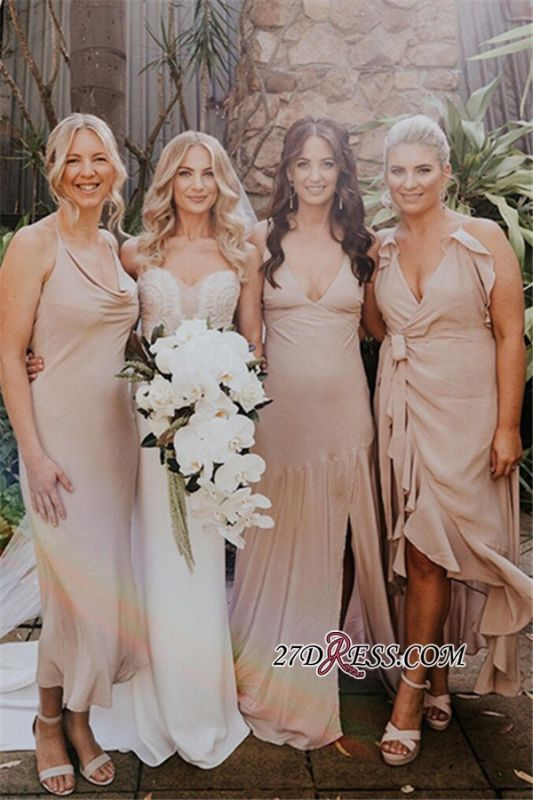 Spaghetti-Straps column Sheath V-neck Beautiful Bridesmaid Dresses