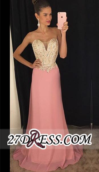 Latest Sleeveless 2020 Pink Sheath Chiffon Strapless Beadings Prom Dresses AP0