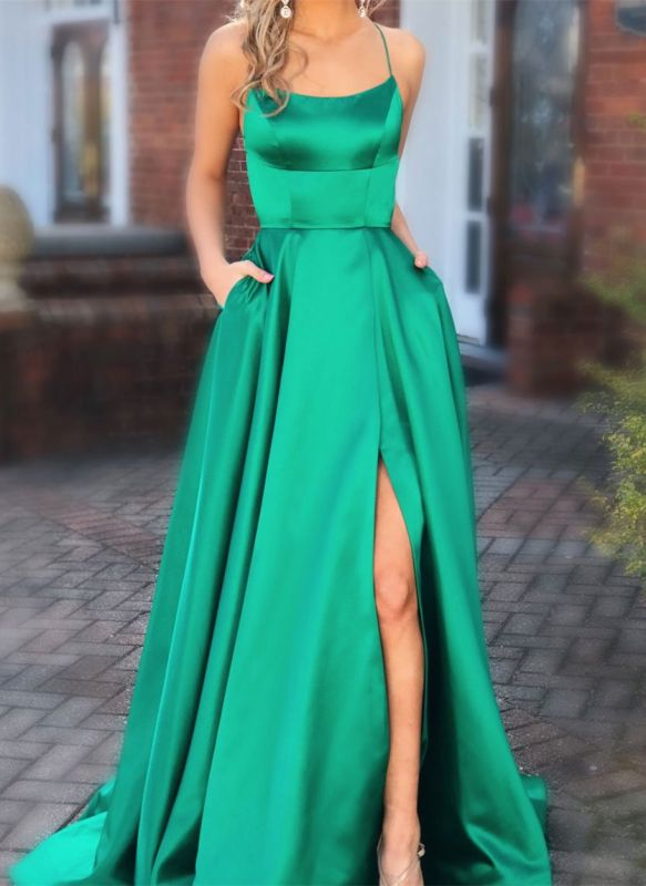 Elegant Green Spaghetti-Straps Evening Dresses | 2020 Long Prom Gown With Slit