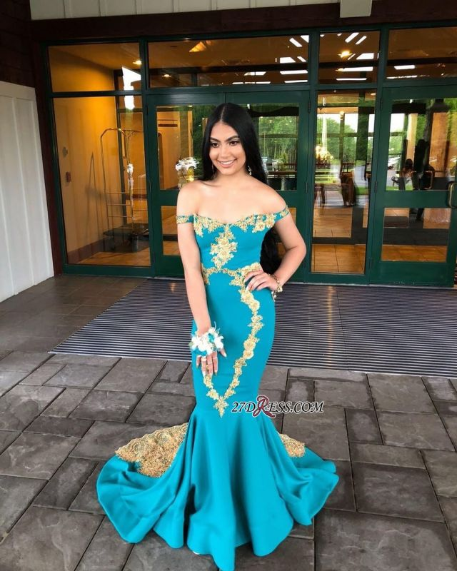 off-the-shoulder Sexy Mermaid Sweep-length Appliques Evening Dresses