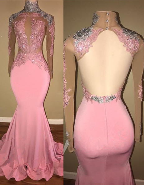Gorgeous High-Neck Backless Pink 2020 Prom Dress Mermaid With Lace Appliques BA7926