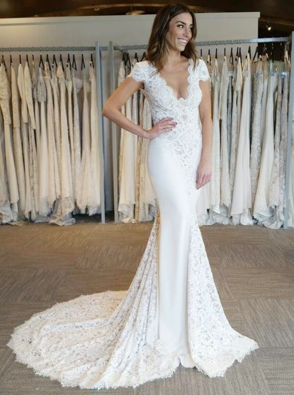 2020 White V-Neck Lace Appliques Mermaid Bridal Gown | Backless Cap Sleeves Long Wedding Dress