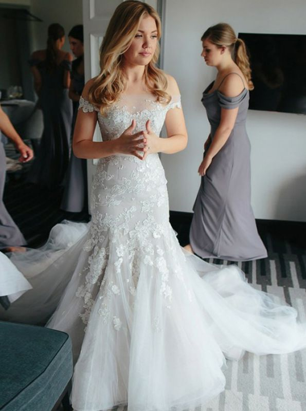 Newest White Lace Off-the-shoulder Wedding Dress | Mermaid Bridal Gown