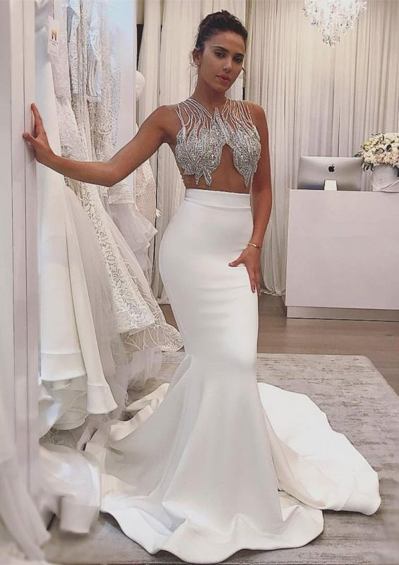 Delicate Beads White Mermaid Wedding Dress | Sleeveless Bridal Gown