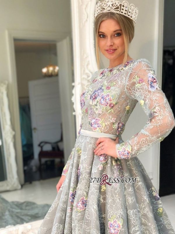 Long Sleeve Lace Evening Gowns | 2020 Princess Prom Dress