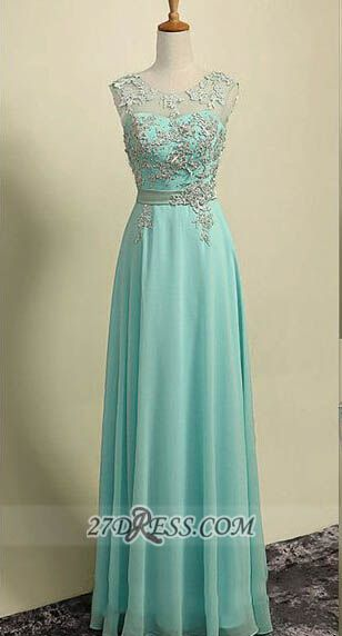 Elegant Illusion Sleeveless Chiffon Evening Dress Appliques Zipper Floor-length Prom Gown