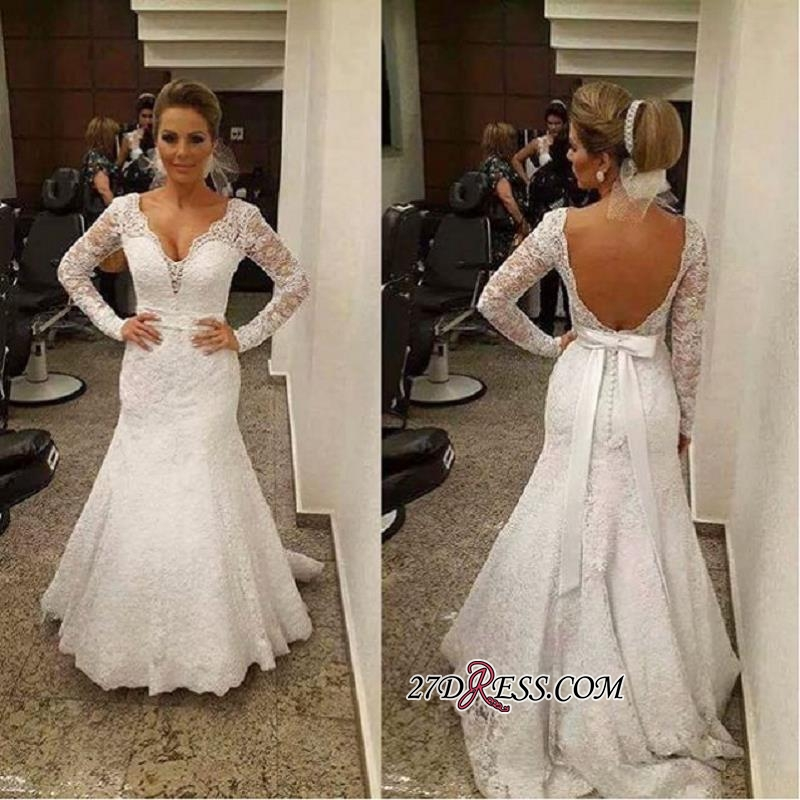 V-neck Mermaid Backless Long-sleeves Lace Sashes Sexy Wedding Dress