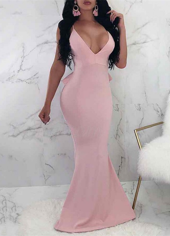 V-Neck Spaghetti Straps Prom Dress   2020 Backless Ruffles Evening Gowns