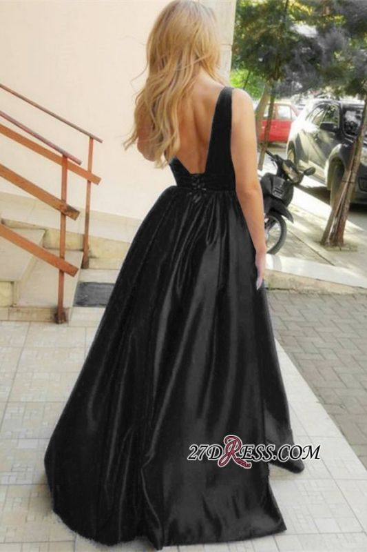 Gorgeous Black Ruffles A-Line Prom Dresses | V-Neck Sleeveless Long Evening Gowns