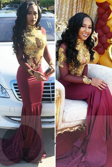 Burgundy long sleeve lace prom dress, mermaid 2020 evening gowns BA4987