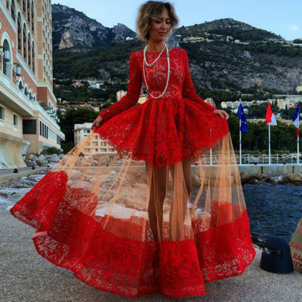Sexy Bateau Long Sleeve Red Prom Dress With Lace BK0