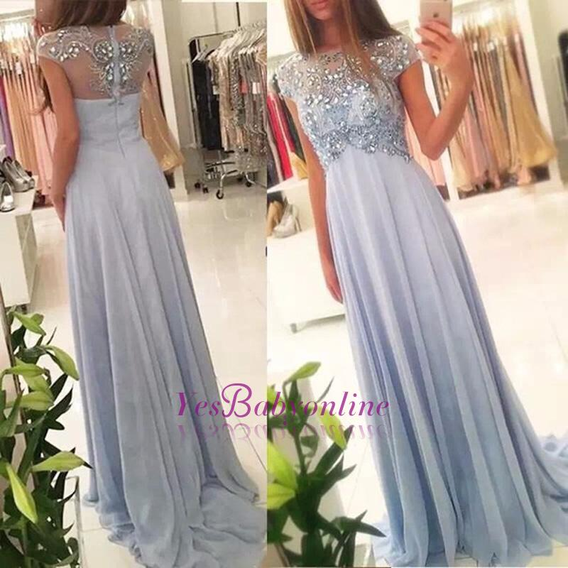 Long Crystals Blue Beading Empire Sparkly Elegant Chiffon Cap-Sleeve 2020 Prom Dresses
