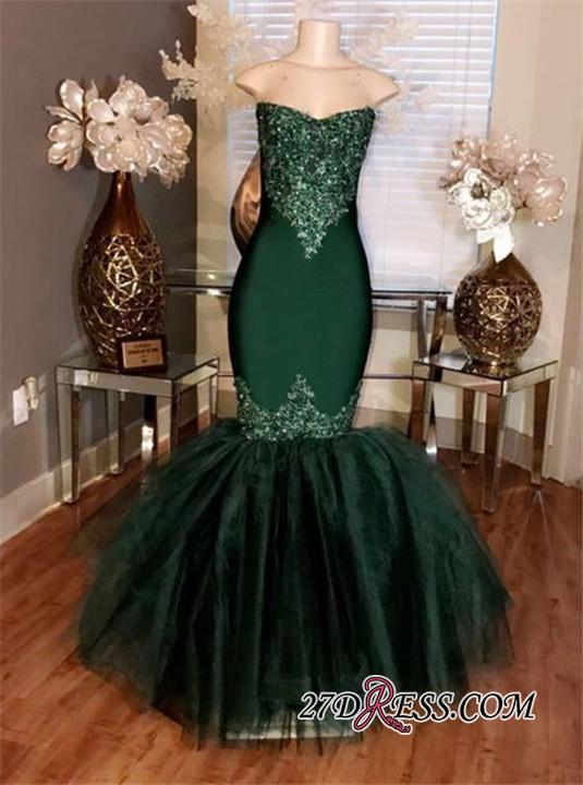 Sweetheart Mermaid Long Prom Appliques Tulle Dresses Sleeveless cc0014