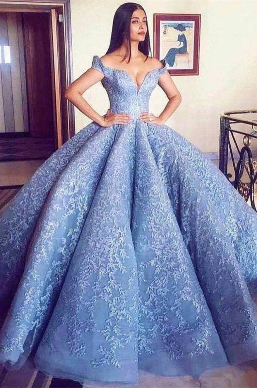 Glamorous Off-the-Shoulder Ball Gown Evening Prom Dress With Lace Appliques BA8309
