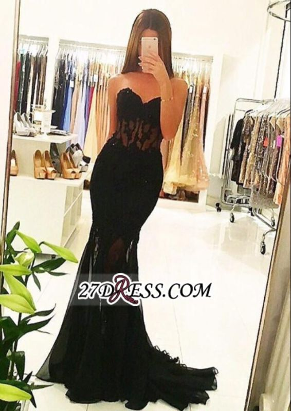 Tulle Black Sexy Mermaid Sheer 2020 Long Appliques Evening Dresses BA5065