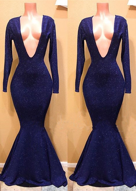 Sexy V-Neck Long Sleeve Prom Dresses | 2020 Mermaid Sequins Long Evening Gowns BC0885