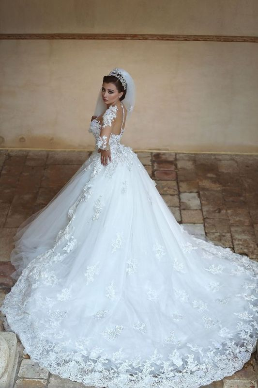 Gorgeous Long Sleeve Appliques Tulle Wedding Dress 2020 Hi-Lo With Train