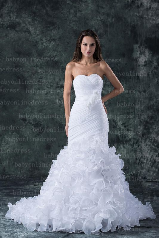 Hot New Wedding Dresses 2020 Sale Elegent Sweetheart Ruffles Organza Sash Hand Made Flower Beads Mermaid