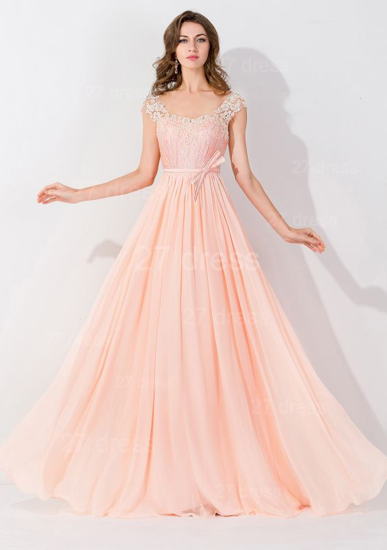 Modern Off-the-shoulder Chiffon Bowknot Evening Dress Appliques Floor-length