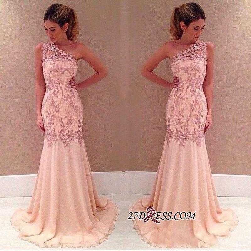 Pink Long Chiffon One-Shoulder Sexy Mermaid Applique Evening Dresses