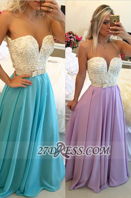 Glamorous Sweetheart Pearls Beadings Prom Dress A-Line Chiffon Long Evening Party Gowns BT0