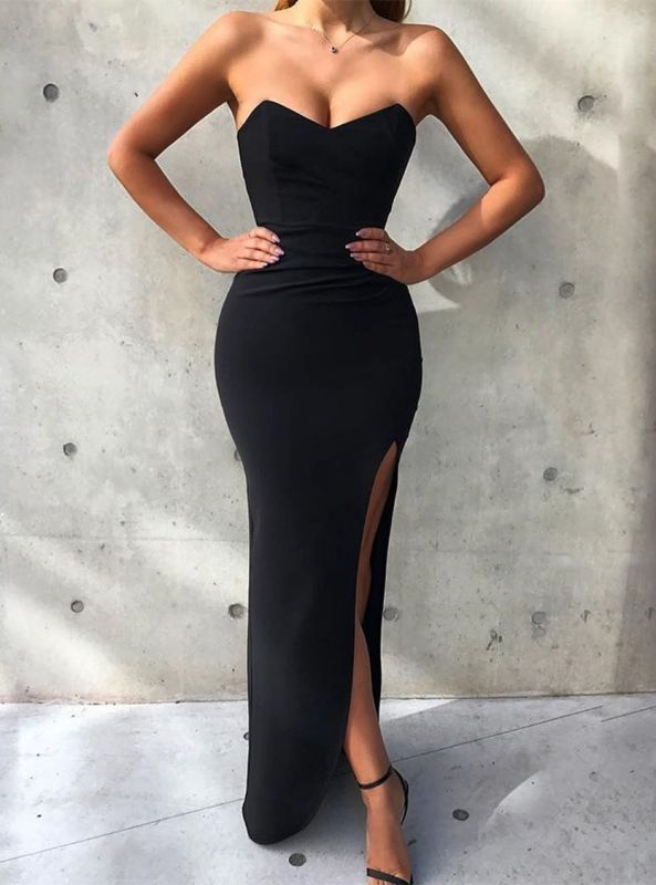 Gorgeous Sweetheart Sleeveless Prom Dress on Sale | Mermaid Black Evening Gowns With Split BC1494