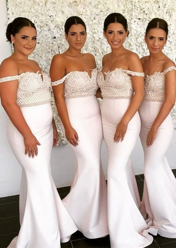 Newest Lace Off-the-shoulder Mermaid Bridesmaid Dress | 2020 Cheap Ivory Bridesmaid Dress