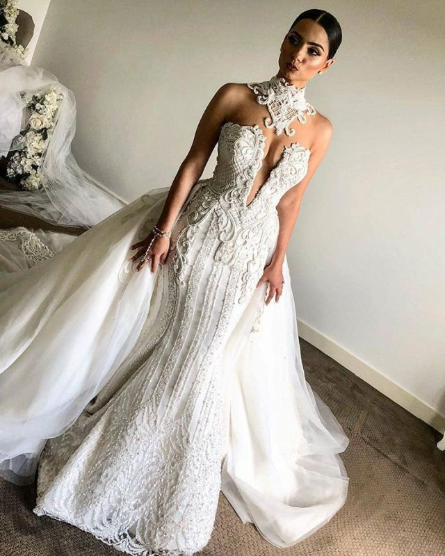Luxurious High Neck Mermaid Sleeveless Wedding Dress | 2020 Lace Appliques Overskirt Bridal Gown BC0672