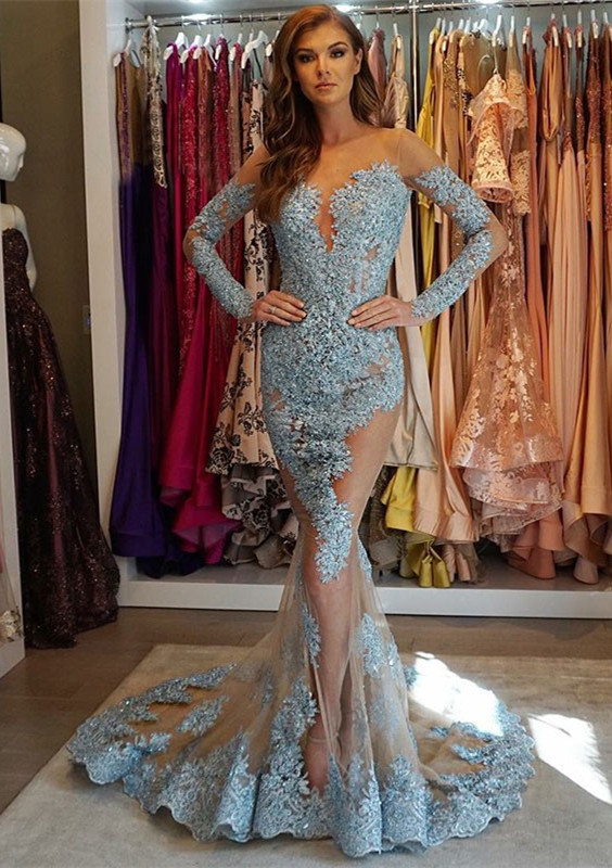 Glamorous Long Sleeve Lace Prom Dresses | 2020 Mermaid Appliques Evening Gowns BC1564